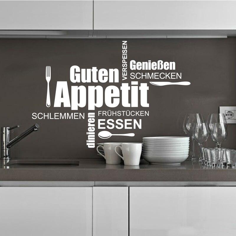 US $6.08 30% OFF Deutsch küche wand applique vinyl wand aufkleber wandbild  küche abnehmbare wand kunst poster hause dekoration haus dekoration ...