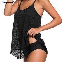 Sports style plus size  bikini two pieces women swimsuit swimwear brazlian sexy halter black Mesh fabric bathing suit Large 3XL