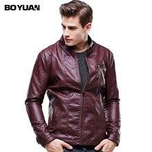 BOYUAN Mens Leather Overcoat Jaquetas Masculina Em Couro Leather Jacket Men Cazadora Piel Hombre Jaqueta De Couro Masculina 627