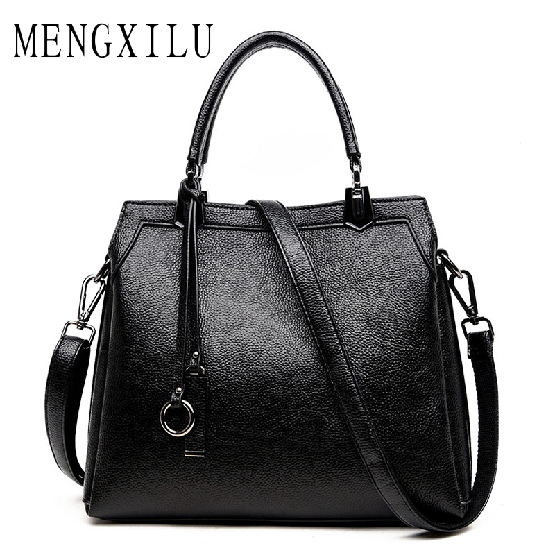 MENGXILU Luxury Handbags Women Bags Designer Fashion Pu Leather Patchwork Shoulder Bag Large Capacity Black Casual Tote Bag 2018
