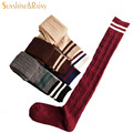 Japanese  fashion brand spring women candy color socks cotton  knee high socks black stripe sock for female wool warm sock