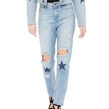 2017 летние женские брюки случайные бисером джинсовые брюки отверстие джинсы женщина тонкий женская одежда высокой талией джинсы