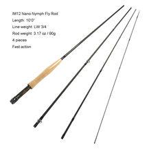Aventik IM12 3wt 10ft 4SEC Snelle Actie Nymph Fly Staaf 90G Super Licht Fly Hengel Voor Nimf Vissen beter dan Redington Staaf