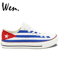 Cuba Flag Shoes Low Top Canvas Shoes Anime Painted Shoes Custom Hand Painted Christmas Gifts Birthday