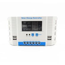 60A 50A 40A 30A 20A 10A 24 в 12 В Авто Солнечная Панель зарядное устройство ШИМ ЖК-дисплей Солнечный коллекторный регулятор USB два контроллера