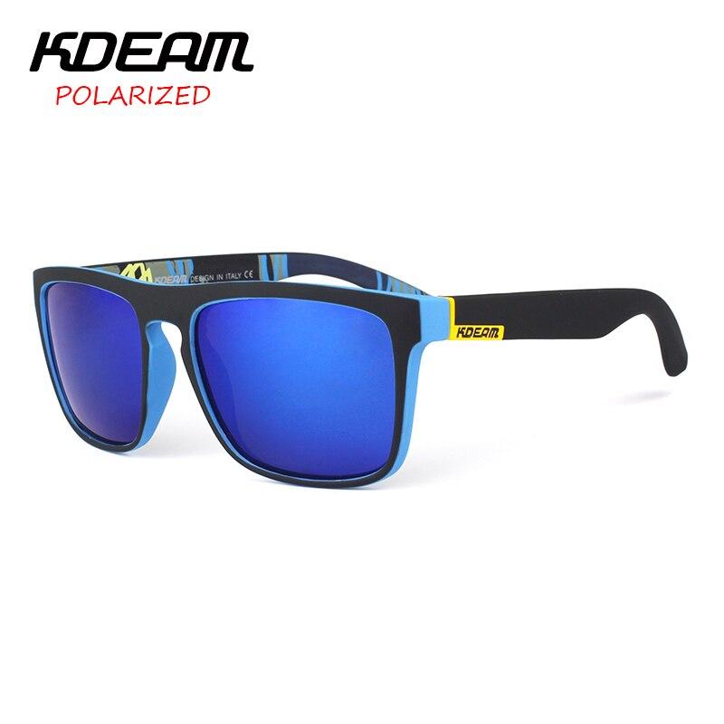 KDEAM Sport Sunglasses Men Metal Hinges Brand Designer Women Polaroid lens Square Polarized Sun Glasses With