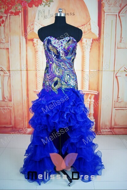 bfc89e648a custom made peacock feather sexy organza spaghetti straps sweetheart  neckline short front long back prom dresses