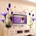 Красивые Цветы Фиолетовые Лилии Стены Стикеры Home Decor Для Фон Декоративные Настенные Бесплатная Доставка