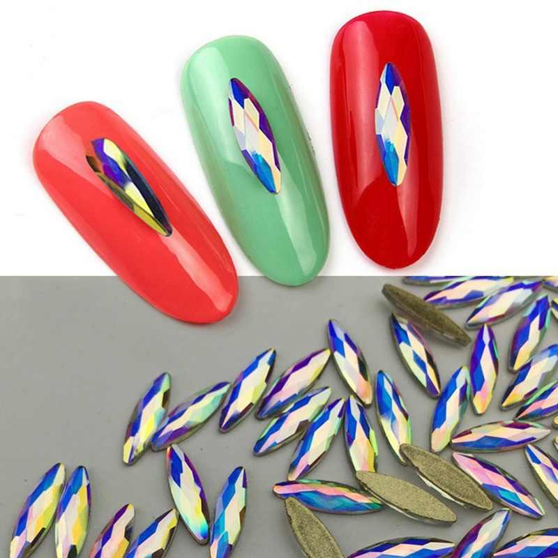 10 pcs לבן AB נייל Rhinestones סוס העין/ואטארדרוף/יהלומי קריסטל גליטר נייל אבנים DIY 3d עיצוב ציפורניים אמנות קישוטים