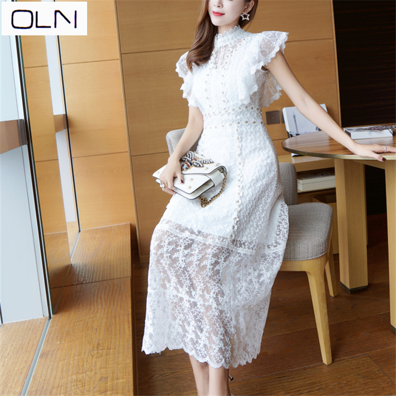 Vestidos New Arrival OLN Summer Dresslace Korean new stitching beaded dress in Dresses from Women 39 s Clothing