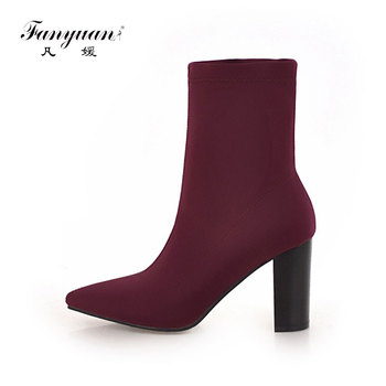 Fanyuan Women's Boots Pointed Toe Yarn Elastic Ankle Boots Thick Heel High Heels Shoes Woman Female Socks Boots short boots