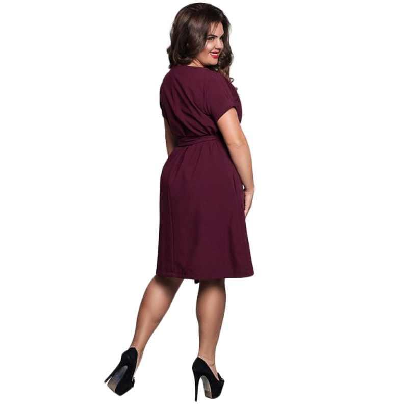 Summer Dress Big Size Office Dress Blue Red Green Dresses Plus Size Women Clothing With Belt Vestidos 5XL 6XL Large Size