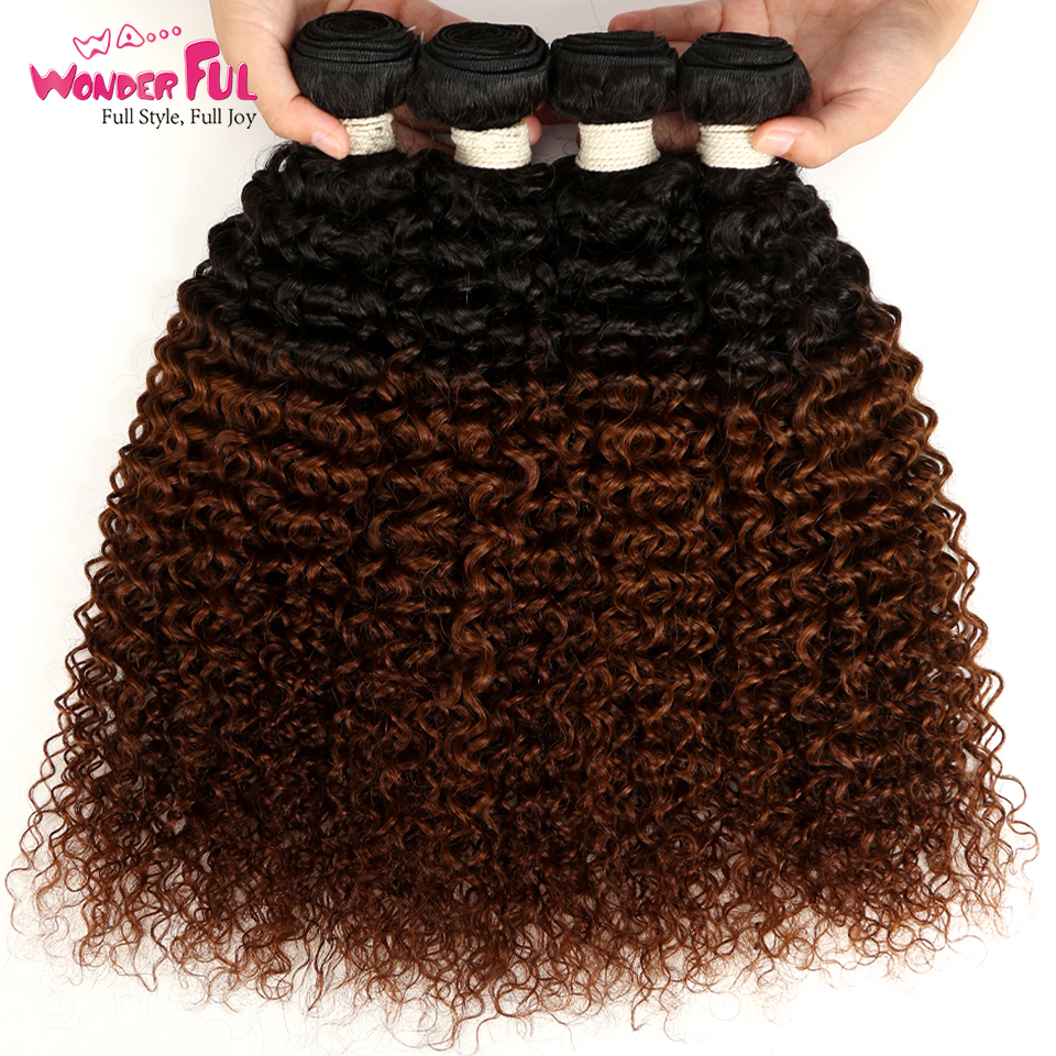 Devoted Ombre Mongolian Kinky Curly Bundles 1/3/4 Pcs Non Remy 100% Human Hair Bundles 2 Tone Color T1b/30# Wa...wonderful Hair To Ensure Smooth Transmission Human Hair Weaves