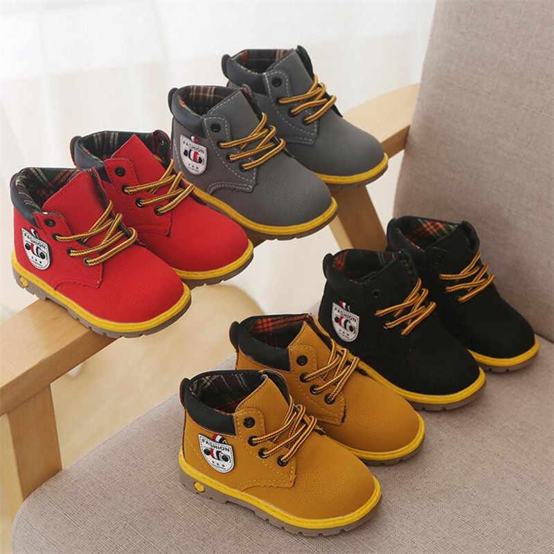 Детская обувь для мальчиков; Новые осень-зима плотное, джентельменское Модные ботинки на шнурках детская обувь для мальчиков мягкие Спорт на открытом воздухе обувь ботинки для девочек обувь Размеры 21-30