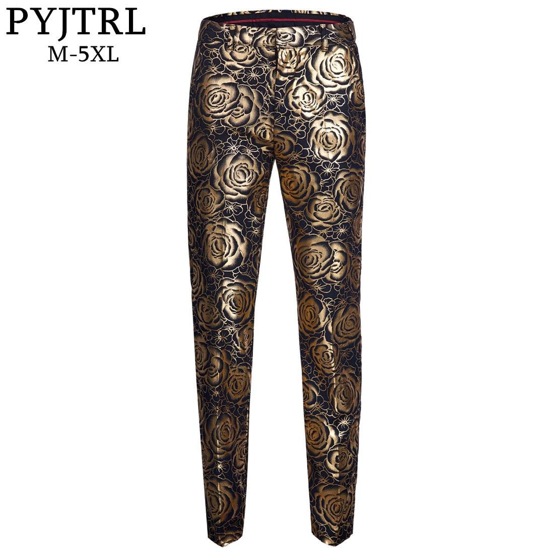 PYJTRL Brand Tide Men Gold Floral Slim Fit Adjustable Waist Suit Trousers Plus Size Hip Hot Male Casual Pants Pantalon Homme
