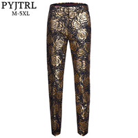 PYJTRL Brand Tide Men Gold Floral Slim Fit Adjustable Waist Suit Trousers Plus Size Hip Hot Male Casual Pants Pantalon Homme