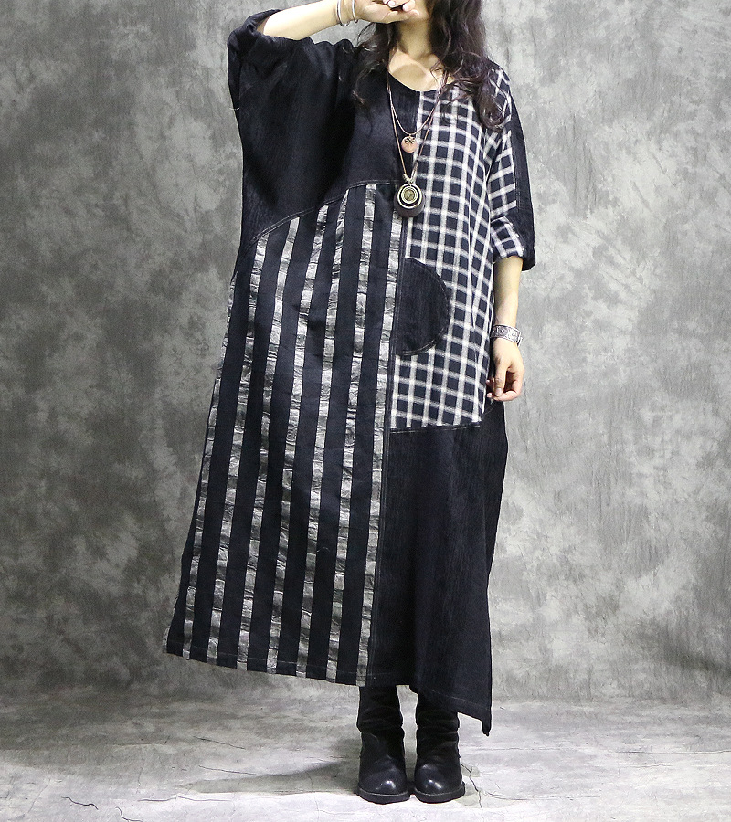 V Dress Robes Lâche La Coton Linge Dames Robe Cou Plaid Vintage Lin Plus Rétro Taille Patchwork Femmes Spliced TpqEOO