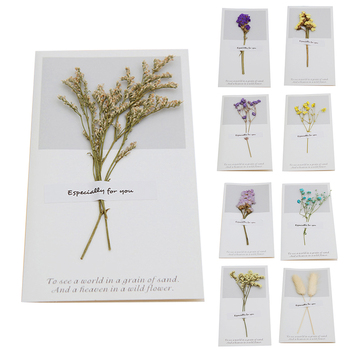 1 sztuk urodziny suszone kwiaty zaproszenia pocztówki ślubne Party Festival kartka z życzeniami tanie i dobre opinie Uniwersalny BIRTHDAY Składane typu Scenic JJ17694-01