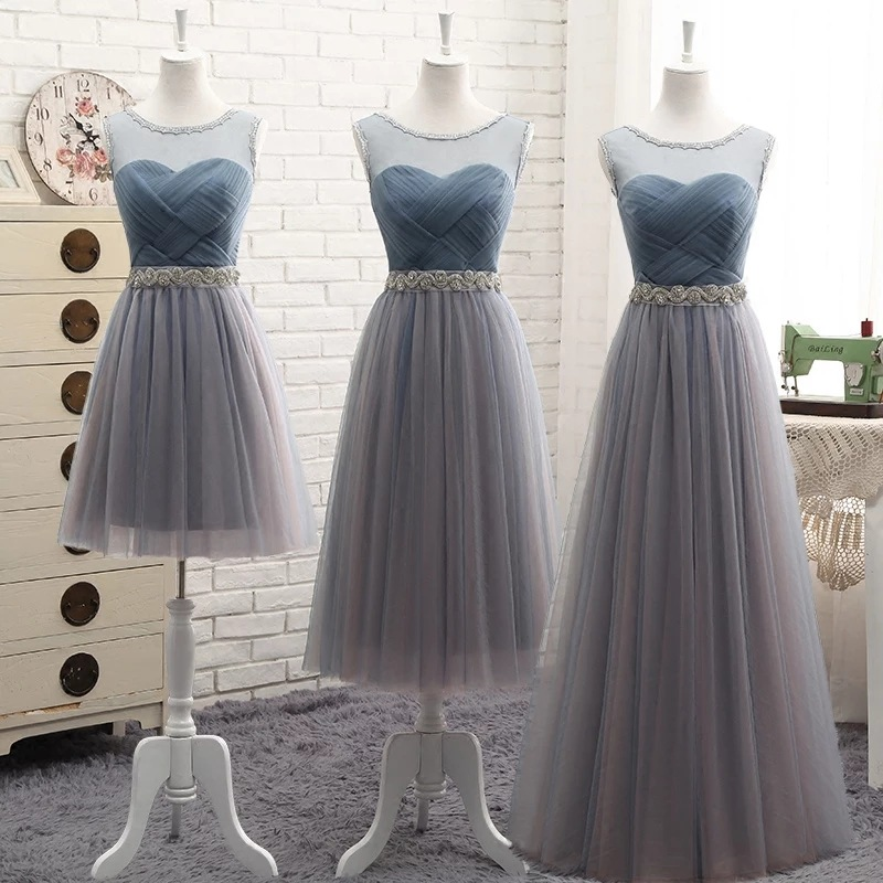 Bridesmaid Dresses Elegant 2019 Long Gray Blue Rhinestone Belt Wedding Party Dresses Slim Banquet Homecoming Party Prom Dresses