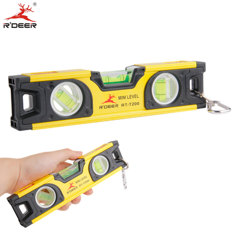 RDEER 200mm Bubble Level Spirit Level Ruler Mini Protractor Horizon Vertical Level Measuring Instruments Construction Tools