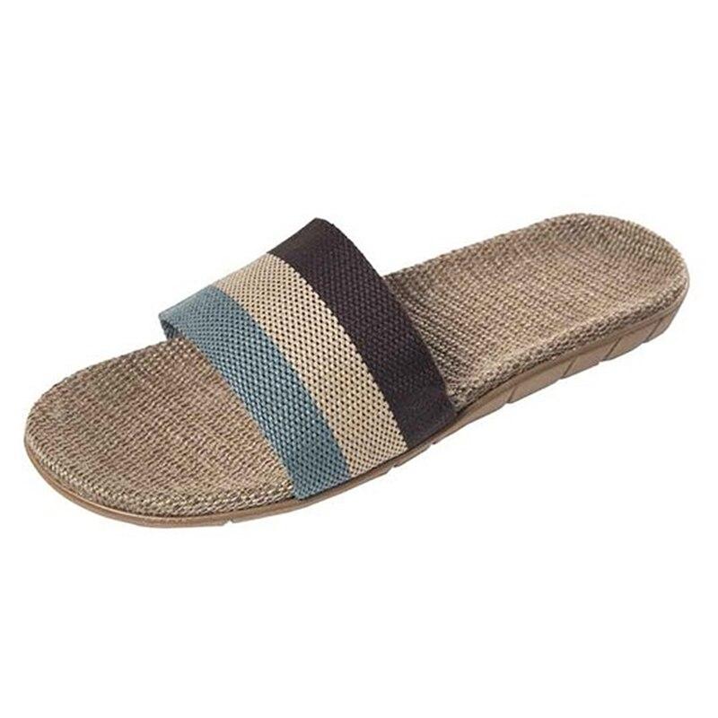 Summer Home Slippers Men Shoes Linen Flip Flops Striped Couples Slides Antiskid Indoor Slippers Flat Home Shoes Pantoufle Homme