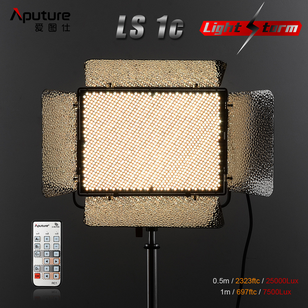 Aputure Light Storm LS 1c 1536 SMD Led Video Light Panel Bi-Color 3200K-5500K CRI 95+ 2.4G Remote Control with A-mount Plate aputure amaran tri 8s daylight balanced dimmable led video light panel ez box diffuser kit batteries 2 4g remote control v mount