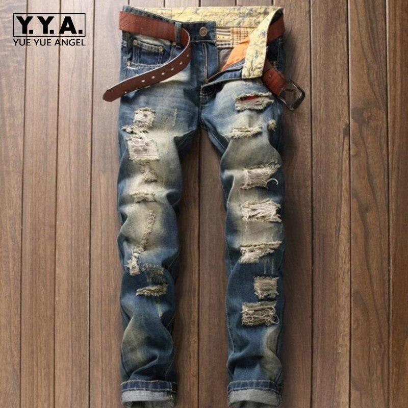 Italian Style Big Hole Ripped Straight Leg Jeans