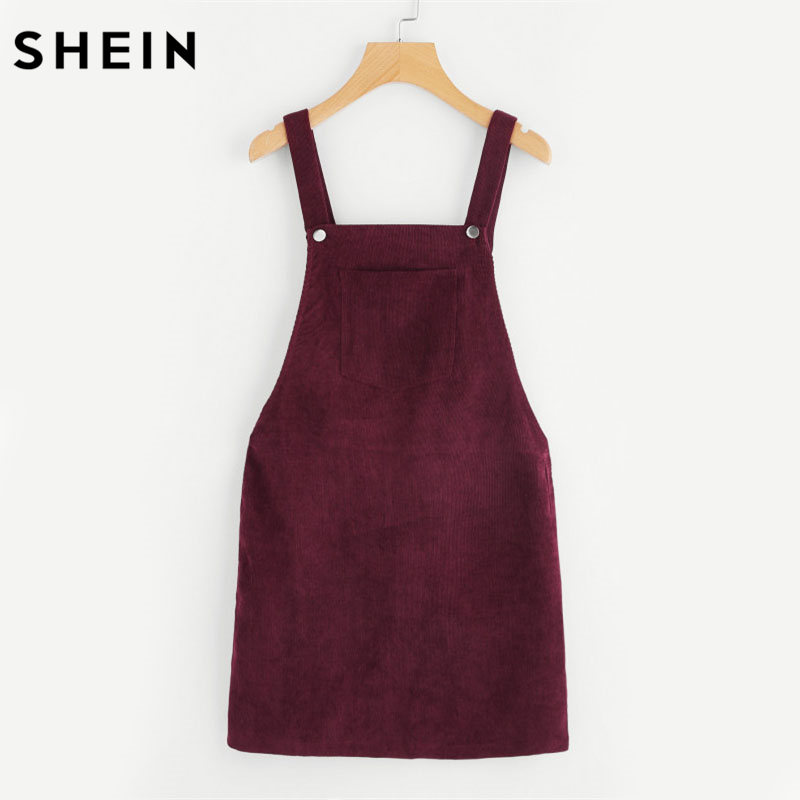 SHEIN Burgundy Bib Pocket Front Overall Dress 2018 Spring Sleeveless Pinafore Cute Short Dresses Shift Plain Straps Girl Clothes