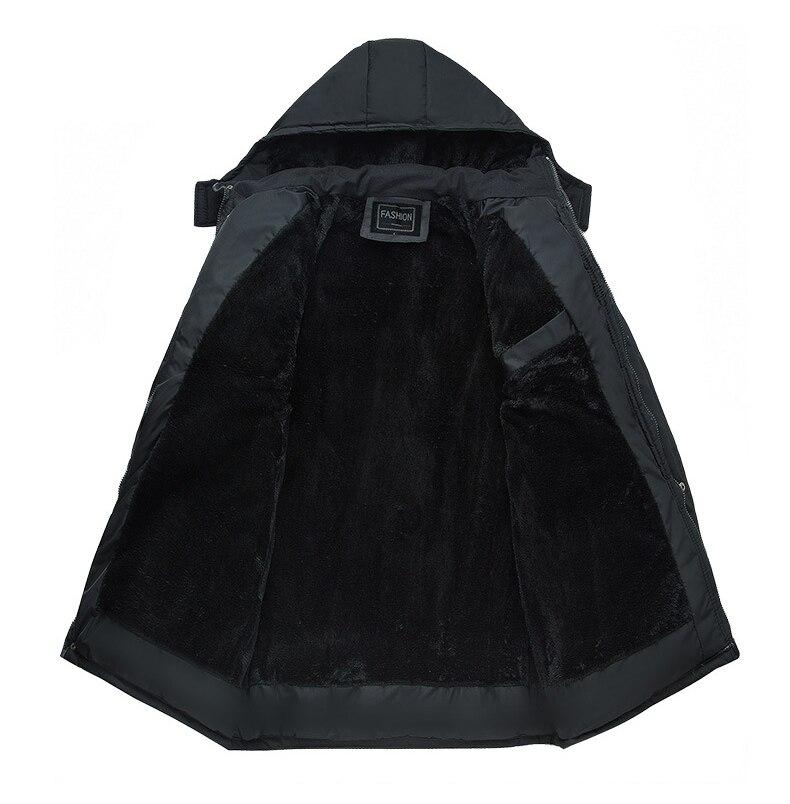 Image 3 - Mwxsd ブランド冬のメンズ厚く暖かいパーカージャケットとコート男性厚いパッド入り毛皮のコートの男性スタンド襟オーバーコート    グループ上の メンズ服 からの パーカー の中