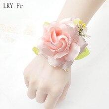 LKY Fr Wrist Corsage Wedding Bracelet Bridesmaid Flower Witness Silk White Artificial Flowers Marriage