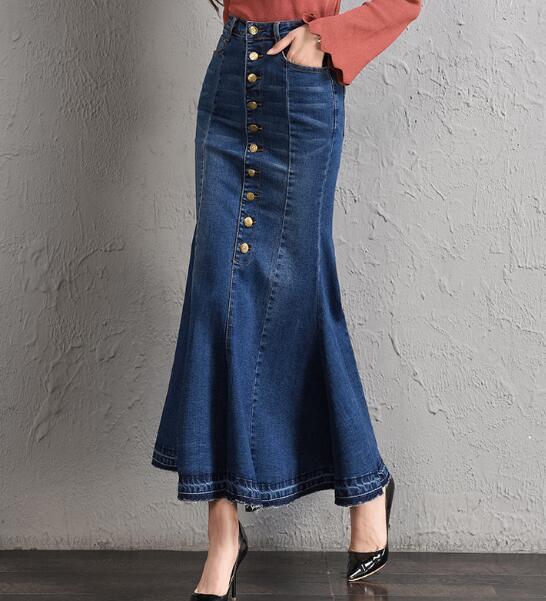 Para Faldas Casual Tyn0731 Adelgaza Botón Moda Vintage Nueva Mujeres Azul De Denim Otoño Las Mezcla Trompeta Primavera Algodón Imperio 1wxIqtnR
