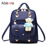 Fashion Women Leather Backpacks Lovely Girls Schoolbag Travel Shoulder Backpack Candy Colors Female Backpacks With Bear