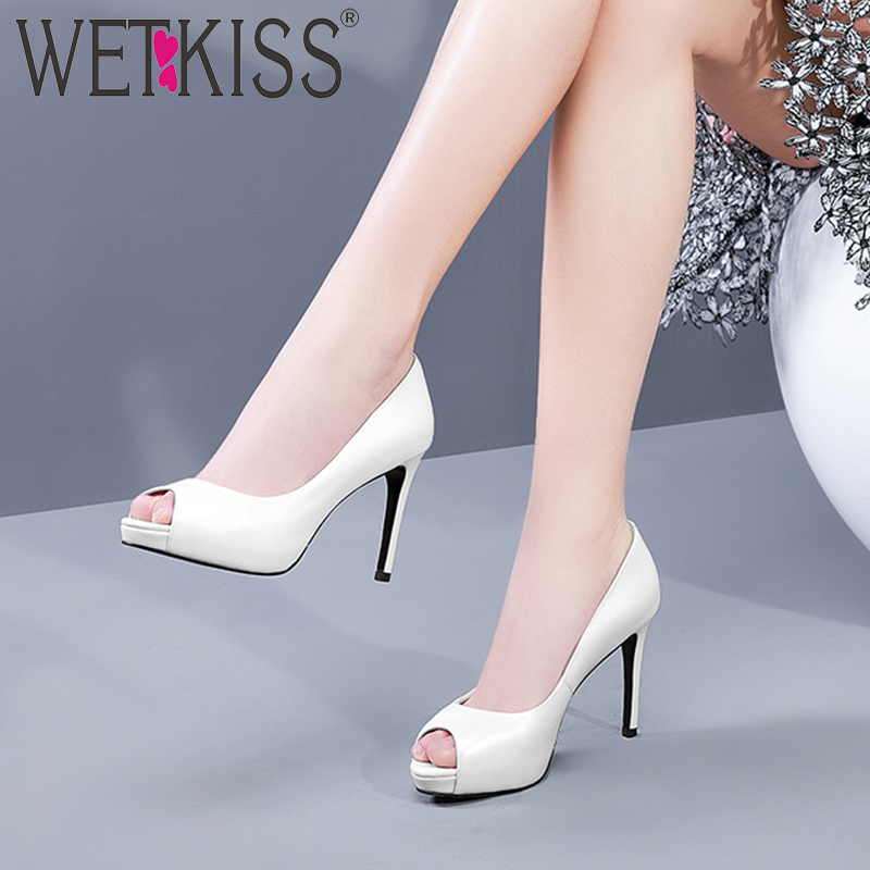 WETKISS High Heels Pumps Women Peep Toe Footwear Cow Leather Platform Shoes Female Shallow Party Shoes Woman Spring 2019 NewWETKISS High Heels Pumps Women Peep Toe Footwear Cow Leather Platform Shoes Female Shallow Party Shoes Woman Spring 2019 New