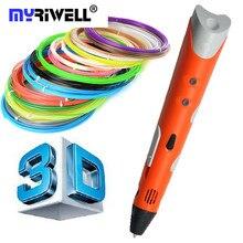 Творческий Подарок 1.75 мм ABS/PLA DIY 3D Печать Ручка 3D Пера производитель + 10 М Нити + Адаптер 3D Печать Ручка Для Детей Дизайн рисунок
