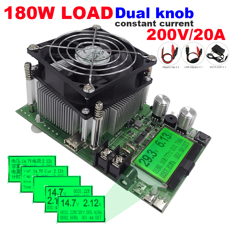 180 W capacidad Digital alimentación probador indicador dc 200 V carga electrónica 18650 batería descargador resistor usb comprobar prueba