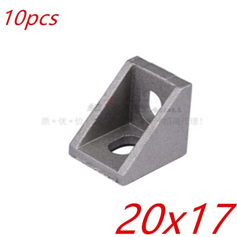 10pcs  2020 20 x17 bracket corner fitting angle aluminum 20mmx 17mm corner bracket fastener  EU standard 2020 aluminum profile  ...