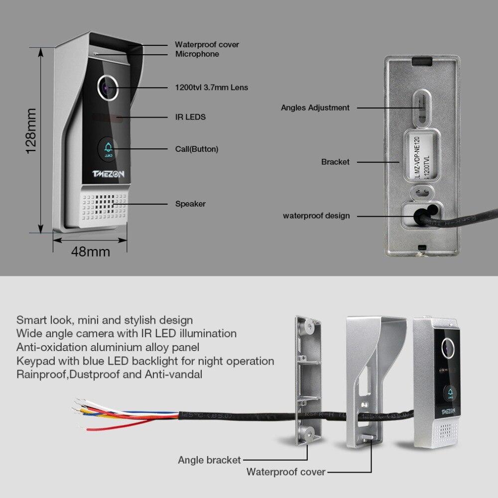 TMEZON 7 Inch TFT Wired Smart Video Door Phone Intercom System with 4 Night  Vision Monitor + 2x1200TVL Rainproof Doorbell Camera-in Video Intercom from  ...