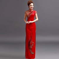 Embroidery China red cheongsam 2018 New Women's Elegant Long Gown Party Proms For Gratuating Date Ceremony Gala Evenings Dresses