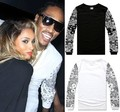 NEW Allover Paisley Bandana Print Graphic Tee T Shirt Black White Tyga Hip Hop