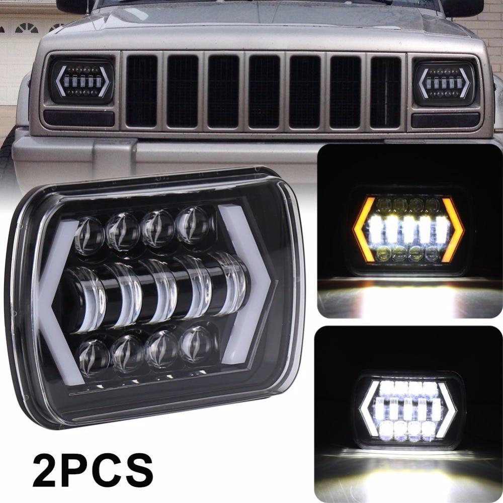 7x6inch Halo LED Headlights,5 x7Square LED Headlamp with Arrow Angel Eyes DRLTurning Fit Trucks for Jeep Wrangler XJ YJ Sedans