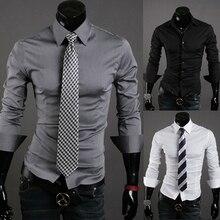 Men Shirt 2017 New Fashion Brand Mens Slim Fit Dress Shirts Formal Male Solid Long-Sleeved Business Shirt Big Size XXL XASDSA