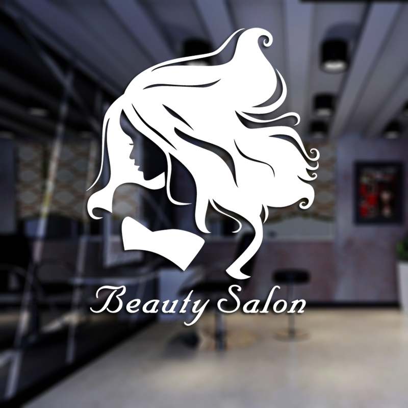 DCTAL Sex Girls Lady Hair Salon Name Wall Sticker Hair Cutting Wall Decal Hairdressing Shop Window Decoration