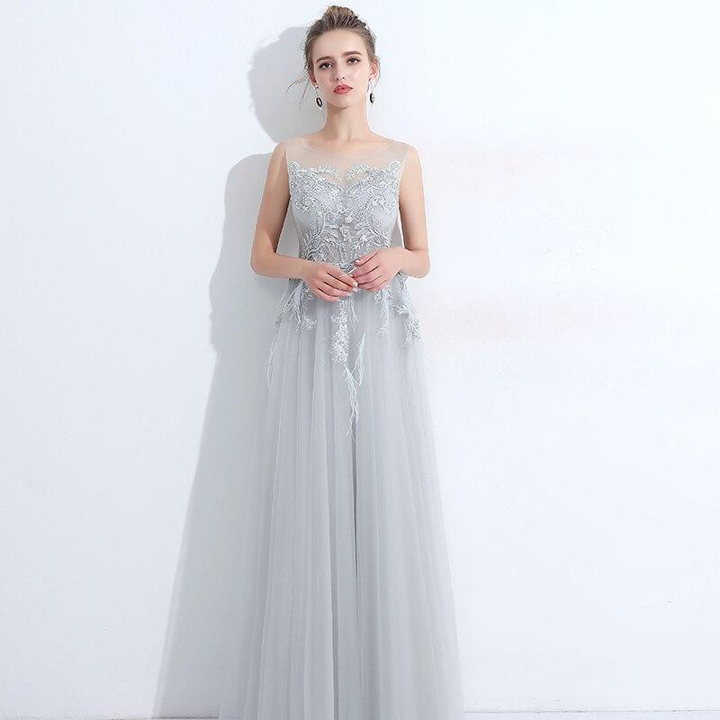 Robe De Soiree Light Blue Evening Dress Long New Tulle Lace ...