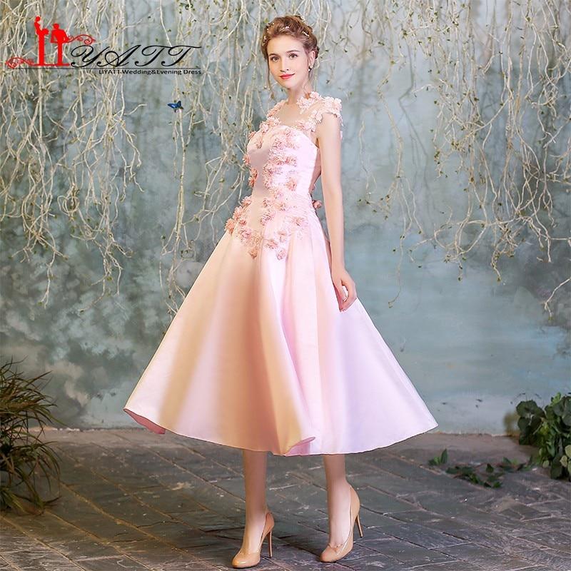 Vintage Pink Prom Dresses 2018 New Arrival 3D Flowers Elegant Sheer Neck Tea Length Satin Formal Evening Party Gown Custom Made