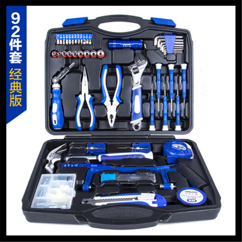 92 pieces of household tool box set of electrical tools combined hardware maintenance tool kit 82 sets of household tool set hardware kit box set without a flashlight