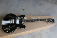 Free shipping new arrival White stripes Hollow Tom Delonge ES 333 black ebony Electric Guitar 151112