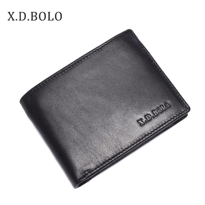 Men Wallets Purse Card-Holder Coin-Pockets Business Black Genuine-Leather XDBOLO