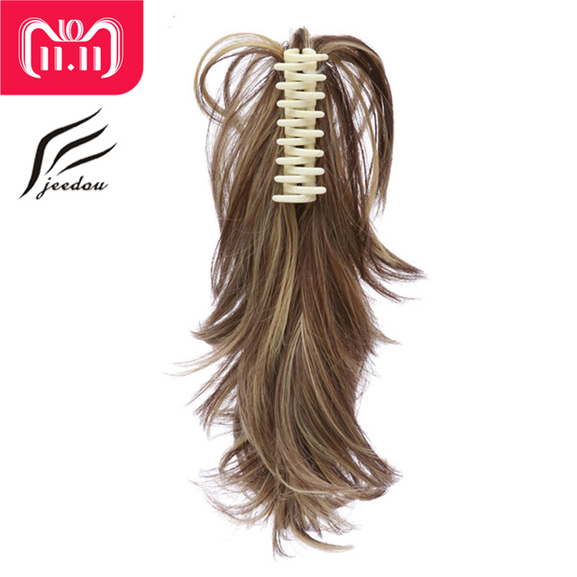 "Best Offers jeedou Short 14"" 35cm 95g DIY Shaped Deformable Metal Claw Ponytail Synthetic Gradient Ponytails Hair Extensions Black  Color"