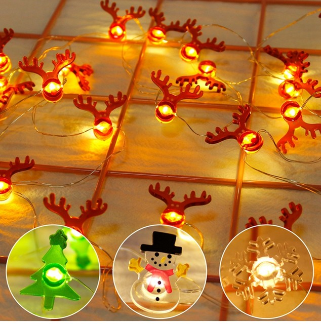 QIFU Snowman Elk Garland Holiday Light String Merry Christmas Decor for Home Christmas 2019 Ornament Navidad Natal New Year 2020 13