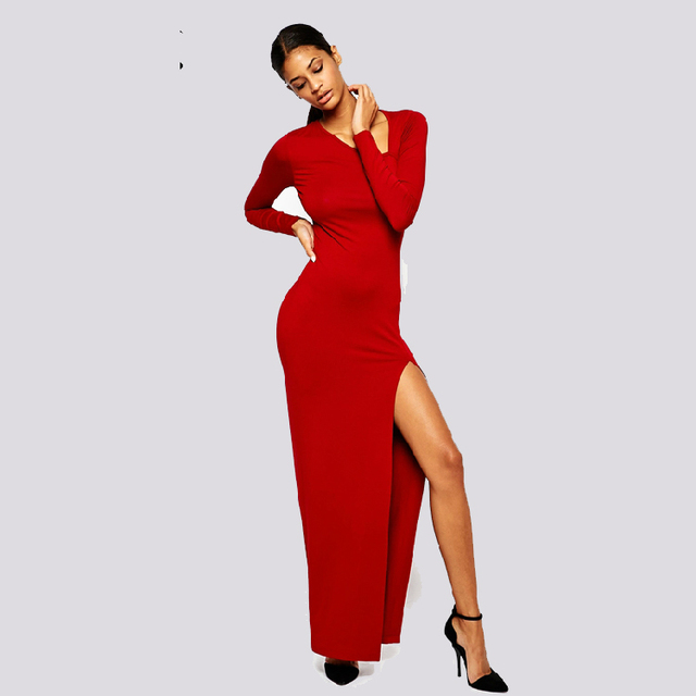 Long Red Dress O Neck Long Sleeve Front Split Plus Size Cotton Sexy